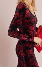ANTHROPOLOGIE, Column Long-sleeve Dress, Velvet, Black Red Floral, Medium, NEW