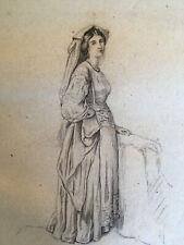 Grand Dessin original femme galante mine de plomb 1850 portrait plein pied