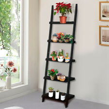 Black 5 Tier Leaning Ladder Shelf Bookshelf Bookcase Storage Shelves Unit