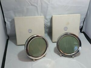"""Pair- Vintage Sterling Silver 305 Picture Frames 4"""" Diameter TH McNary Jewelry"""