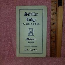 1948 SCHILLER LODGE MASONIC By Laws & OFFICERS List Detroit MI F&AM -FreeSHIP