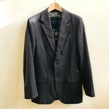G STAR RAW Grey Brown Striped 100% Cotton Blazer Jacket Smart Casual Style Sz M