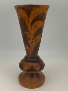 Hand Carved Etched Brown Wooden Vase Decorative Wood Vase 10.5""