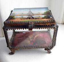 VINTAGE Francese in Bronzo Dorato CONICI vetro gioielli/Ciondolo Box Cofanetto-Torre Eifel