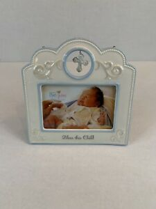 "NIB! Demdaco Nat & Jules Tender Blessings Blue Bless This Child Baby Frame 4""x6"""
