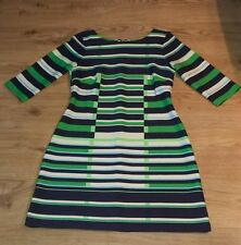 "37"" Striped Dress size 14 Navy White Green Sky Blue Stretchy Boat Neck"