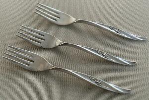 """3 Salad Forks Sterling Silver Rose Ballet International 1962 4327 Vintage 7 1/4"""""""