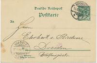 """DT.REICH """"NORDHAUSEN / 1"""" K2 a. 5 Pf Pra.-GA-Postkarte n """"DRESDEN- / ALTST. 3"""""""
