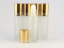 EMPTY ROLL ON BOTTLE SET 5 X 10ML REFILLABLE , ROLLER BOTTLE, FROSTED GLASS trav