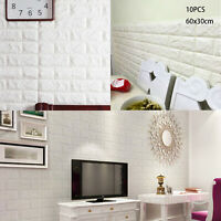 10PCS 3D Brick Wall Sticker Self-adhesive Waterproof Panels Wallpaper Decal UK