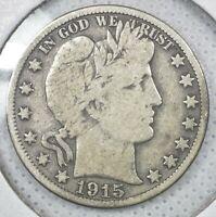1915 S Silver Barber Half Dollar
