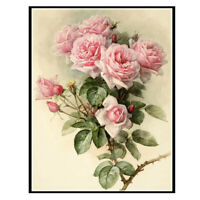 Full drill 5D Diamond Painting Bee Pink Rose Flower Handicraft Embroidery 6908H