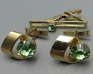 Mens Vintage CUFFLINKS LIME GREEN CRYSTAL W/ TIE BAR Costume Jewelry P79