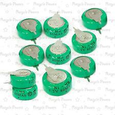 10 Piezas Ni-mh 80mah 1.2 v botón batería recargable de alimentación de respaldo con Etiqueta
