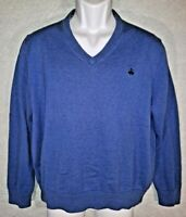 BROOKS BROTHERS V-Neck Pullover Sweater Blue Men's Large 100% Supima Cotton Logo