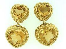 Grande Corazón Doble CITRINO COLGANTE PENDIENTES EN 18ct Oro Amarillo - hm1669