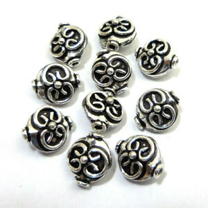 10 PCS 12X11X8MM COPPER BALI BEAD ANTIQUE STERLING SILVER PLATED 47 FUL-210