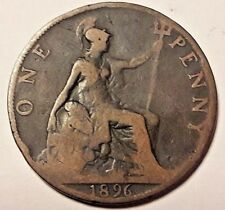 Dated : 1896 - One Penny - 1d - Coin - Queen Victoria - Great Britain