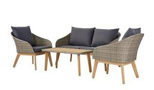 4 Seater Rattan Effect Sofa Set