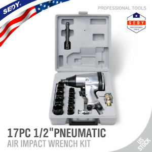 """17PC 1/2"""" Dr. Air Impact Wrench Set with Sockets Inline filter Extension Bar"""