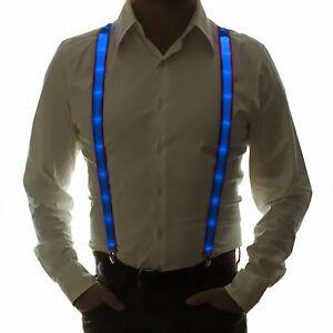 LED Hosenträger Okoberfest Karneval Fasching gadget outfit mottoparty blau licht