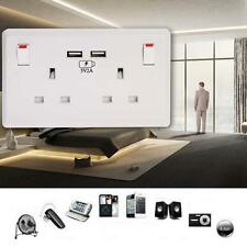 White Double Socket USB 13A 2Gang Electric Wall Plug Sockets With 2USB Outlet FT