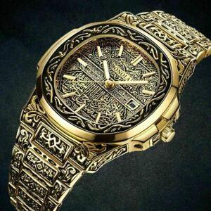 Retro golden stainless steel Brand ONOLA Fashion quartz watch men luxury