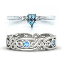Fashion 925 Silver Aquamarine Sapphire Ring Women Wedding Jewelry Size 6-10