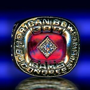 300 PERFECT GAME AMERICAN BOWLING CONGRESS ABC 24K GOLD PLATED  SIZE 11. RING