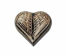 Angel Wings Black and Gold Heart Urn Keepsake for Ashes Cremation Memorial