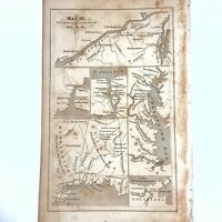 Authentic Antique Copper Plate Printed Map - 1700-1800's Original Decor Old - E