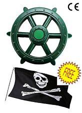 Large Verde Cornice Di Arrampicata Per Bambini Pirata Ruota + GRATIS Bandiera dei pirati, Play House Den