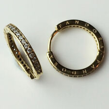 Genuine Pandora Signature Hoop Silver Earrings 18K Gold Plated 290558CZ