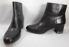 Michael Kors Sabrina Women Shoes Black Leather Chain Detail Ankle Boots Sz 8 M