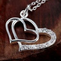 ASAMO Damen Halskette Herz Anhänger Herzkette Sterling Silber plattiert H1091