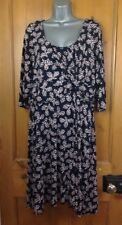 Monsoon Womens Dress Size UK 22 Blue with Pink Floral 3/4 Sleeves Knee Length