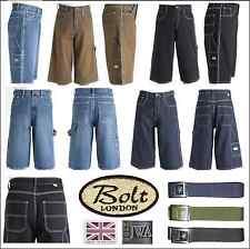 Bleubolt Mens Big Size Streetwear Baggy Loose Fit Skater Carpenter Denim Shorts