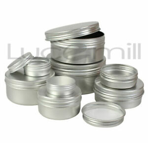 ALUMINIUM TINS JARS POTS CONTAINERS & EPE LINED Screw Lids - Sizes 10ml - 250ml