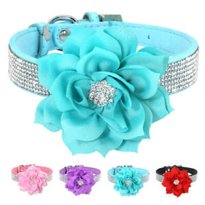 Crystal Dogs Necklace Collar Rhinestone Flower Puppy Diamond Soft Suede Leather