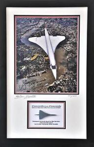 Original Concorde metal Hiduminium from G-BOAG, Framed with Signed Photograph