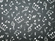MUSIC NOTES WILD WHITE BLACK BACKGROUND COTTON FABRIC 13 Inch Scrap Cut