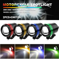 2X U3 LED Motorcycle Headlight Driving Fog Light Spot Lamp Halo Ring with Switch