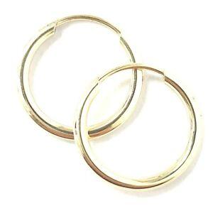 9ct Gold Sleeper Hoop Earrings 12mm Size Men's or Ladies SOLD AS A PAIR
