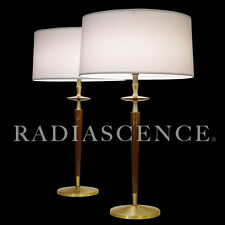 ROSEWOOD BRASS REMBRANDT ATOMIC JET AGE MODERN TABLE LAMPS LIGHTOLIER THURSTON