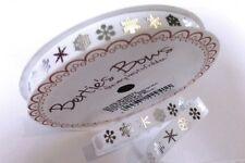 5m Silver Snowflakes on White 9mm Grosgrain Ribbon Bertie's Bows, Christmas,