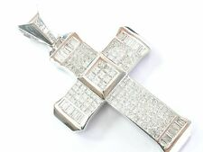 18kt Natural Princesa & Diamante Baguette Wg Religioso Colgante de Cruz 14.03Ct
