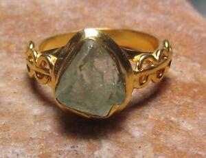 Gold plated brass everyday natural aquamarine ring UK P/US 7.75. Gift Bag.