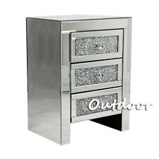 Bedside Glass Cabinet With Drawers Mirrored Bedroom Side End Table Storage Chest