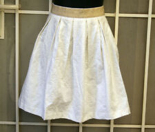 Ladies Pleated Skirt Cream womens Temt Sz 10 summer clothes gold band