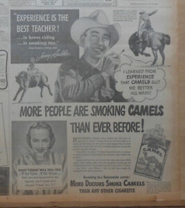 1947 newspaper ad for Camels - Champion Rodeo Bronco Rider Jerry Ambler